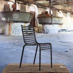 Stripe stoel zonder armleuning zwart