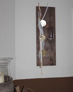 wd99 edle wanddeko holzbrett wei gebeizt nat rlich dekoriert mit filzband einer. Black Bedroom Furniture Sets. Home Design Ideas