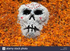 Sand painting of a decorated skull surrounded by marigold petals for Day of the Dead (Dia de los Muertos), Oaxaca, Mexico. Stock Photo
