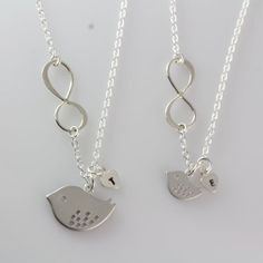 Infinity Necklace Mother and Daughter with initial by MonyArt, $58.80