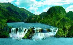 Wodospad, Jezioro, Góry