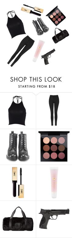 """""""zombie apocalypse"""" by live-love-music2016 ❤ liked on Polyvore featuring Topshop, Hera, MAC Cosmetics, Lancôme, The Kooples and Smith & Wesson"""