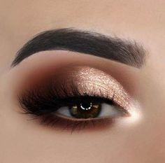 rose gold eye makeup, natural makeup, wedding makeup looks, rose gold makeup for brown eyes Sexy Eye Makeup, Hazel Eye Makeup, Rose Gold Makeup, Simple Eye Makeup, Eyeshadow Makeup, Natural Makeup, Glitter Makeup, Glitter Brows, Dramatic Makeup