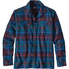 Patagonia Men's Fjord Flannel Button Up Long Sleeve Shirt, Size: Medium, Buckstop Plaid/Bigsurblue