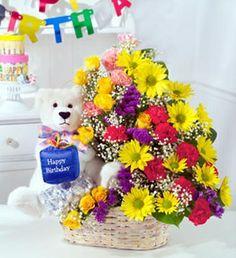 Basket Of 24 Mix Flowers Qnd Teddy Send Birthday Gifts Happy Flower