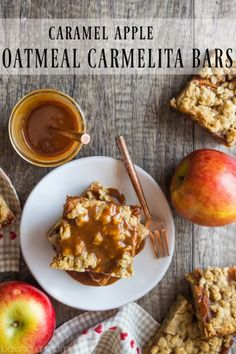 Caramel Apple Oatmeal Carmelita Bars- layers of chewy oatmeal cookie surround cinnamon-spiced apples and caramel sauce. A delicious fall treat!
