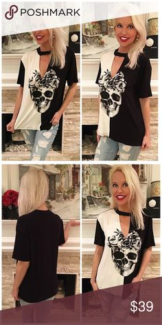 Chocker neck contrast skull and flowers top So adorable yet so mod! This v neck choker tee has a cool rocker chic look with white and black contrast! Tops