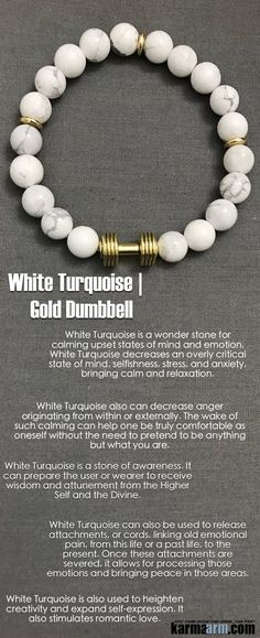 White Turquoise is a wonder stone for calming upset states of mind and emotion. White Turquoise decreases an overly critical state of mind, selfishness, stress, and anxiety, bringing calm and relaxation. It also stimulates romantic love.     ..…..Beaded Bracelet. Yoga Chakra Charm Mala Stretch Meditation Jewelry. Energy Healing Crystals Stacks… pulseiras Bijoux….Handmade Reiki Mala…Tibetan Buddhist. Mens Womens…..