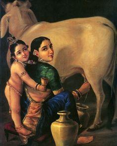 YASODA SURROUNDED BY KRISHA - RAVI VARMA PAINTINGS - Paintings