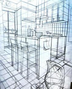 Oda perspektif mekan çizimi karakalem çalışması.