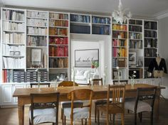 <3 the idea of LOTS of bookshelves &mismatched chairs in the dining room