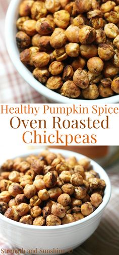 These healthy Pumpkin Spice Oven Roasted Chickpeas are such an easy snack to make! A sweet, crunchy, and seasonal kid-friendly snack that's gluten-free, vegan, and allergy-free! Only 4 ingredients and no oil or sugar needed to make them! They are so addicting, you will be making multiple batches all season long! #healthysnack #pumpkin #roastedchickpeas #chickpeas #kidssnack #toddlersnack #fingerfood #pumpkinspice Dairy Free Recipes, Dog Food Recipes, Vegan Recipes, Snack Recipes, Gluten Free, Delicious Recipes, Snacks To Make, Easy Snacks, Oven Roasted Chickpeas