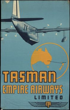 Tasman Empire Airways was a forerunner of Air New Zealand, and operated from 1940 to This poster shows the flying boat 'Aotearoa', and the elegant logo of the airline at lower right. Retro Airline, Airline Travel, Air Travel, Air France, Poster Ads, Advertising Poster, Vintage Advertisements, Vintage Ads, Posters Australia
