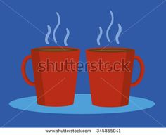 Two identical red mugs of coffee or hot chocolate steaming away on a blue background with copy space for text