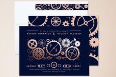 Steampunk Foil-Pressed Wedding Invitations