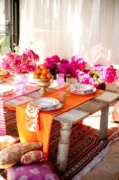 Moroccan-Styled Tablescape - love the multiple table runners! (and the color…