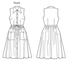 M6506 16-24  3.5@60 Dress has collar, collar/front band, fitted bodice with darts stitched on right side of fabric, pleated skirt, attached belt, self carriers and stitched hem.