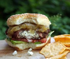 GOAT CHEESE STUFFED BURGER WITH FIG AND ONION JAM