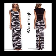 """‼️ 1 Hour Sale‼️Woodleigh Annabelle Maxi Gorgeous chic and sexy maxi dress by Woodleigh designer, black and bone printed super soft rayon, crochet knit upper back, fully lined, has some spandex which gives it a very flattering look.....measurements layed  flat:bust:30"""" , will stretch to 35""""... Length::64""""....Hips:35-37""""...this dress will work great with boots and jacket for Fall  Woodleigh Dresses"""