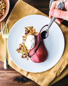 Red Wine Poached Pears With Pecan Granola & Whipped Cream recipe by A Couple Cooks Website/Podcast Vegan Whipped Cream, Sweetened Whipped Cream, Homemade Whipped Cream, Pear Dessert, Dessert Recipes, Dessert Ideas, Wine Poached Pears, Pear Recipes, Jelly Recipes