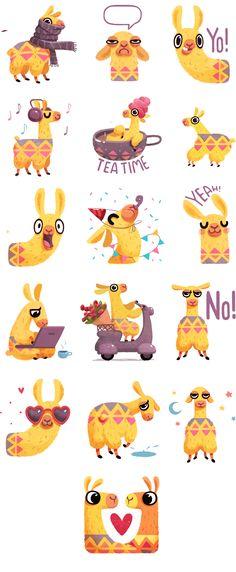Hipster Llama Sticker Pack by Alena Tkach on Behance♥♥ Illustration Mignonne, Cute Illustration, Character Illustration, Alpacas, Llamas Animal, Llama Arts, Paper Toy, Animation, Crochet Animals