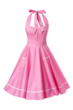 Bunny - 50s Retro halter Olivie Swing Dress in Pink and White dots