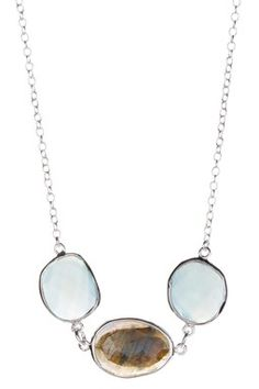 Aqua Chalcedony & Smokey Quartz Necklace