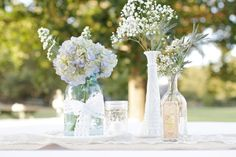vintage bottle centerpiece