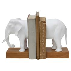 Resin Elephant Bookends Set of 2 - White (13-1/4L),