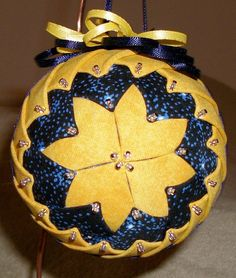 Grandmother's Quilt ~ soft golden yellow and midnight blue ~~ Fabric Ornaments