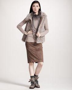 Brunello Cucinelli Shearling/Cashmere Vest, Long-Sleeve Sweater Tunic & Suede Pencil Skirt - Neiman Marcus