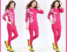 2014 Casual Cotton Culottes Sports Active Tracksuit Mix Match Stitching Skirt+Pants Cheap Winter Sports Suits For Women Cheap from Reliable Hoodies & Sweatshirts suppliers on Lossgaga Co,.LTD