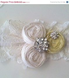 Charcoal Gray and Yellow Wedding Garter SET  by DeesByDesign, $43.65