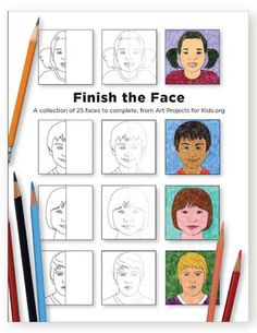 Art Projects for Kids: Finish the Face Book. 25 half-drawn faces of various ages and ethnicities. To complete, draw the missing side of the face and color in. $5 instant download.
