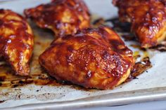Try a saucy BBQ chicken breast recipe. These Oven BBQ Chicken Breasts are saucealicious. It'll be your new favorite BBQ chicken breast recipe! Baked Barbeque Chicken, Easy Baked Chicken, Baked Chicken Breast, Baked Chicken Recipes, Chicken Breasts, Chicken Thighs, Best Bbq Chicken, Cola Chicken, Chicken Cake
