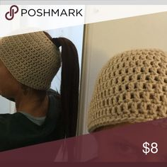 Messy bun/ ponytail beanie ☃☃ Color is Sand... NWOT... perfect for the lady or teen with long hair... Accessories Hats