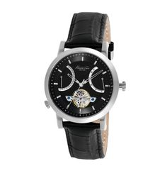 Round Automatic Watch with Croco-Leather Strap - Kenneth Cole