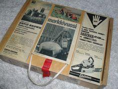 Vaneerilaatikko löysi myös käyttäjän. laatikkoon liimailtu vanhoja mainoskuvia ja lakattu päältä. Sisältönä kaikkea mahdollista vanhoja lehtiä ym.