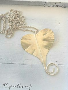 Pipal Leaf necklace,silverfilled brass, handmade by PadmaJewels