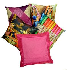 5pcs Multicolor Silk Pillow Covers Indian Digital Print & Modern Luxury Sofa Cushion Covers Krishna Mart India http://www.amazon.com/dp/B010FS3N6O/ref=cm_sw_r_pi_dp_GtILvb1CEFXK7