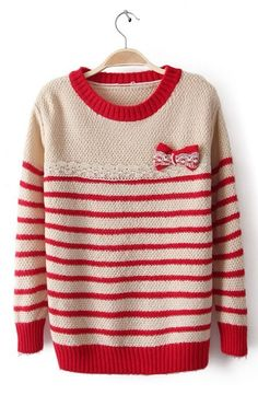 Sewing Idea - Flat Lace & Bow w/Lace - www.SheInside.com - Shown: Red Apricot Long Sleeve Striped Bow Sweater $32.26 (Cheap! ! !)