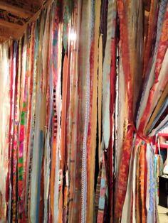 Fabric Garland Curtain 42 X 84 inch Custom Boho Indie Colors - Pick Your Colors. $60.00, via Etsy. Curtain Material, Curtain Fabric, Ribbon Curtain, Hippie Style, Strip Curtains, Rag Curtains, Bohemian Decor, Boho Chic, Hippie Curtains