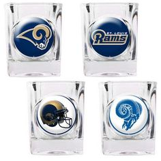 Great American Products 4 Piece NFL Collector's Shot Glass Set NFL Team: St. Louis Rams
