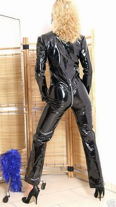 Shiny Pvc and Plastic: Photo Leather Pants Outfit, Leather Jumpsuit, Vinyl Dress, Vinyl Clothing, Latex Catsuit, Latex Dress, Latex Girls, Classy Women, Women Wear