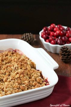 Apple Pear Cranberry Crisp- add some sugar and corn starch to the fruit, more cranberries and less sugar in topping