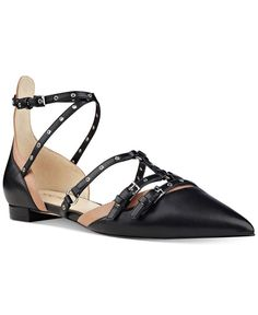 Nine West Aweso Buckle Pointed-Toe Flats