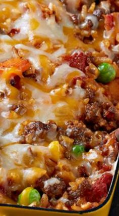 Mexican Beef & Rice Casserole ~ Delicious and free.- Mexican Beef & Rice Casserole ~ Delicious and freezes well! Rice Casserole, Casserole Recipes, Mexican Casserole With Rice, Casserole Ideas, Cornbread Casserole, Macaroni Recipes, Hamburger Casserole, Chicken Casserole, Beef Dishes