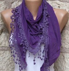 Purple   Shawl Scarf   Cowl Scarf with Lace Edge by fatwoman, $17.00