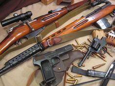 Soviet ww2 infantry weapons: Mosin Nagant, Nagant Revolver, Tokarev TT-33, Tokarev SVT-40