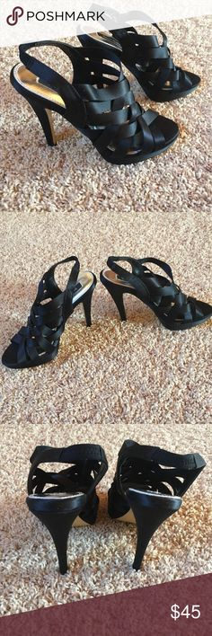 WHBM Black Sling Back Heels Shoes Strappy Size 6M These gorgeous shoes by White House Black Market are in amazing condition! They are a gorgeous black with slightly stretchy sling back design. Perfect with a LBD and date night! Size 6 M. White House Black Market Shoes Heels
